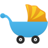 Blue and gold pram