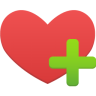 Red heart with a green plus