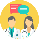 Male and female doctors with speech bubbles