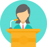 Woman presenting at a podium