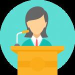 Woman presenting at a podium