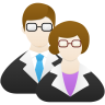 Male and female wearing suits and glasses